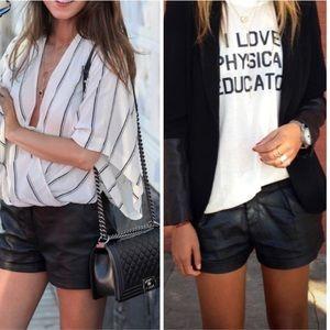 Pants - Black Faux Leather Shorts